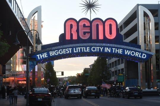 The Reno Arch in downtown Reno.