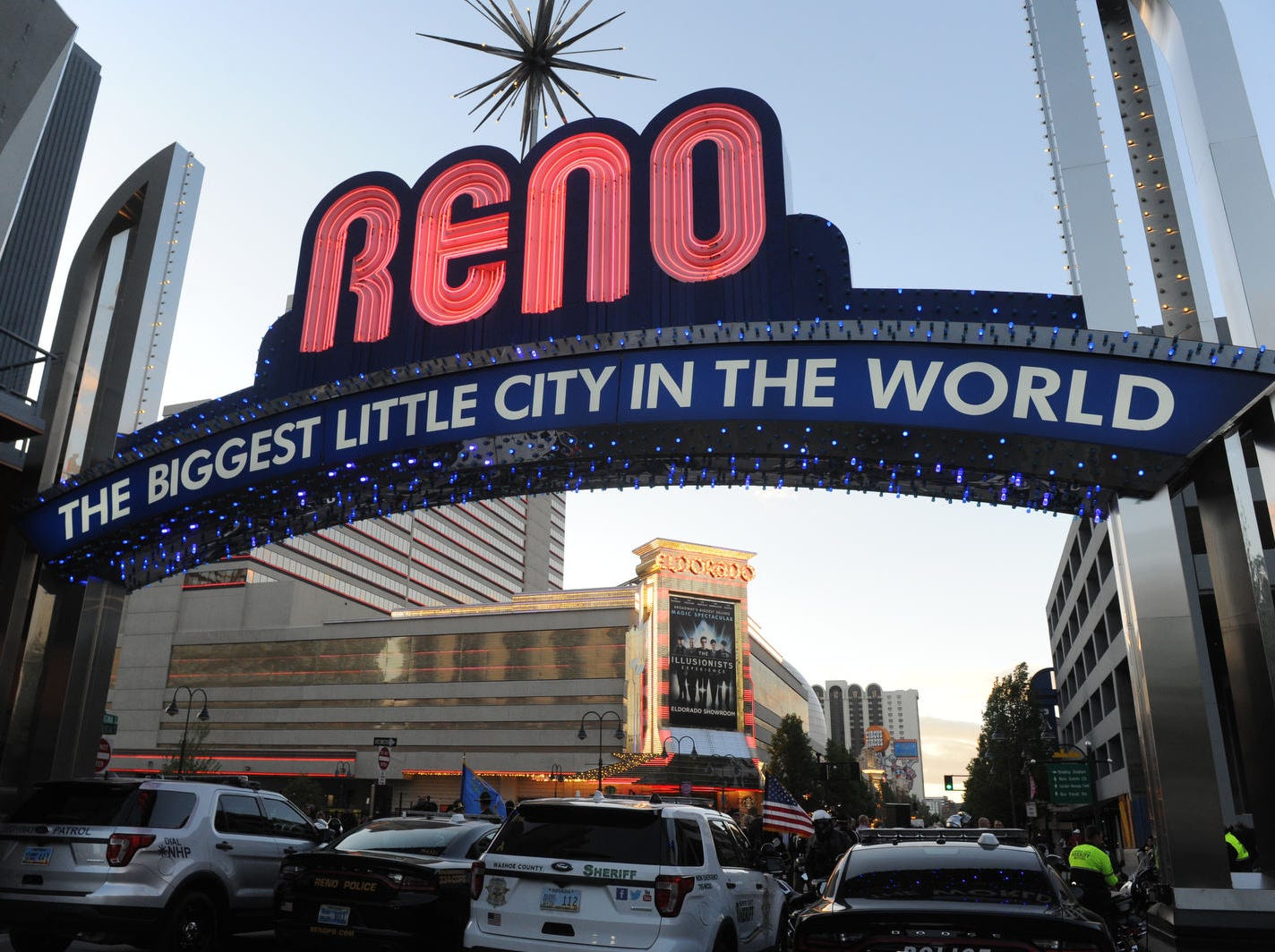 The Reno Arch gets turned blue in honor of National Law Enforcement Memorial Month on May 1, 2019.