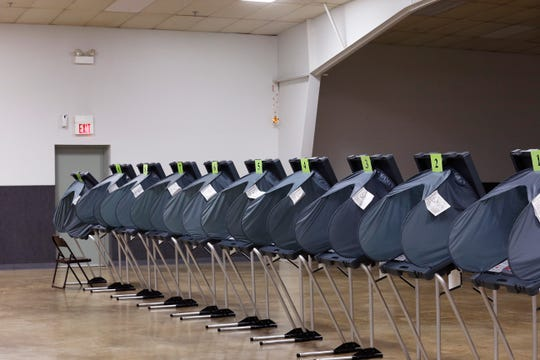 The voting booths at the Kuhlman Center on the Wayne County Fairgrounds go unused in the early afternoon of Thursday, May 2, 2019.