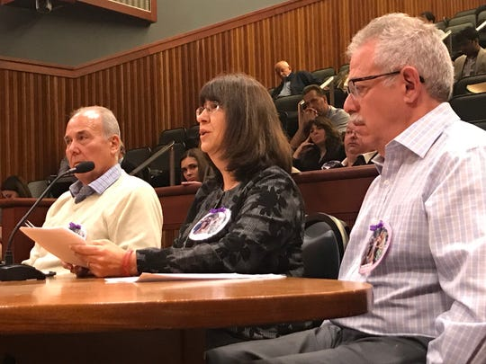 Paul Schulman, Mindy Grabina and Howie Grabina, parents of victims in a 2015 Long Island limo crash, speak at a hearing in Albany on May 2, 2019.