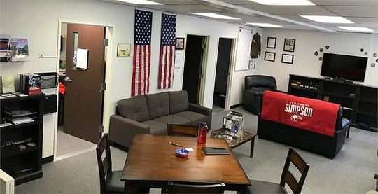 Military veterans who attend Simpson University can study or relax at the Veterans Success Center on campus. Student-veteran enrollment climbed to 50 this year, up five-fold since 2011.