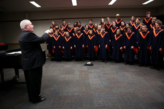 Sprague's choir, under the direction of David Brown, performs at the OSAA Choir State Championships at Oregon State University in Corvallis on May 1, 2019.