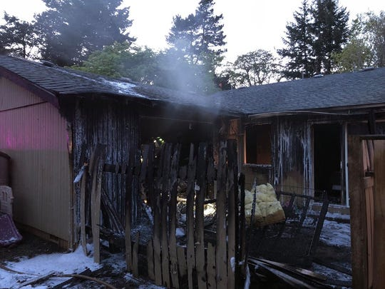 A two-alarm fire displaced two families at a South Salem apartment complex Wednesday.