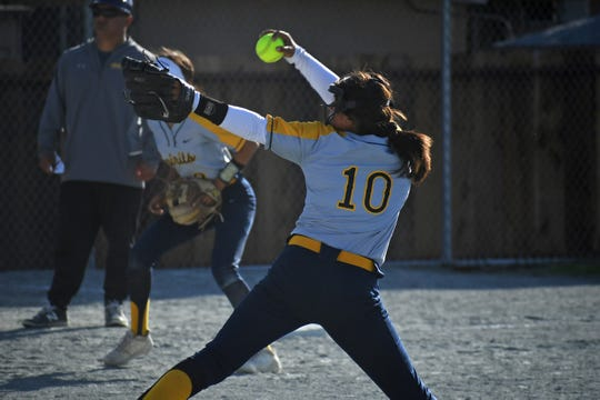Notre Dame pitcher Samantha Rocha (10)  put on a show in Friday's game at Watsonville that earned the Spirits a share of the PCAL-Gabilan title and earned enough votes to win this week's Girls Athlete of the Week award.