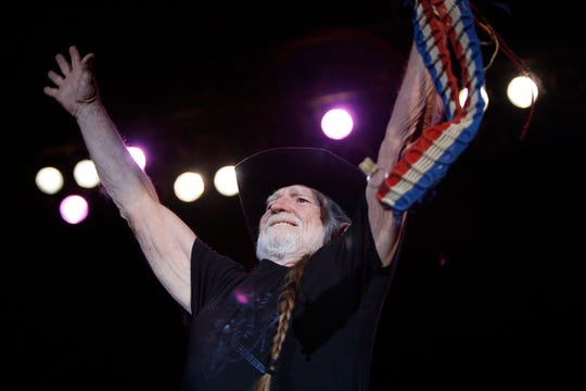 Willie Nelson says hello to everyone as he takes the stage at the San Angelo Coliseum in March of 2008.