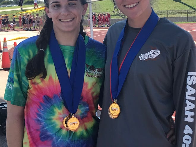 Cornerstone Christian School's Jessica Simon, left, and Hannah Slate are set to compete in the TAPPS State Track and Field Championships May 3-4, 2019, in Waco.