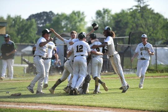 Mardela's celebrates after winning its first Bayside South against Stephen Decatur on Wedesnday, May 1, 2019.