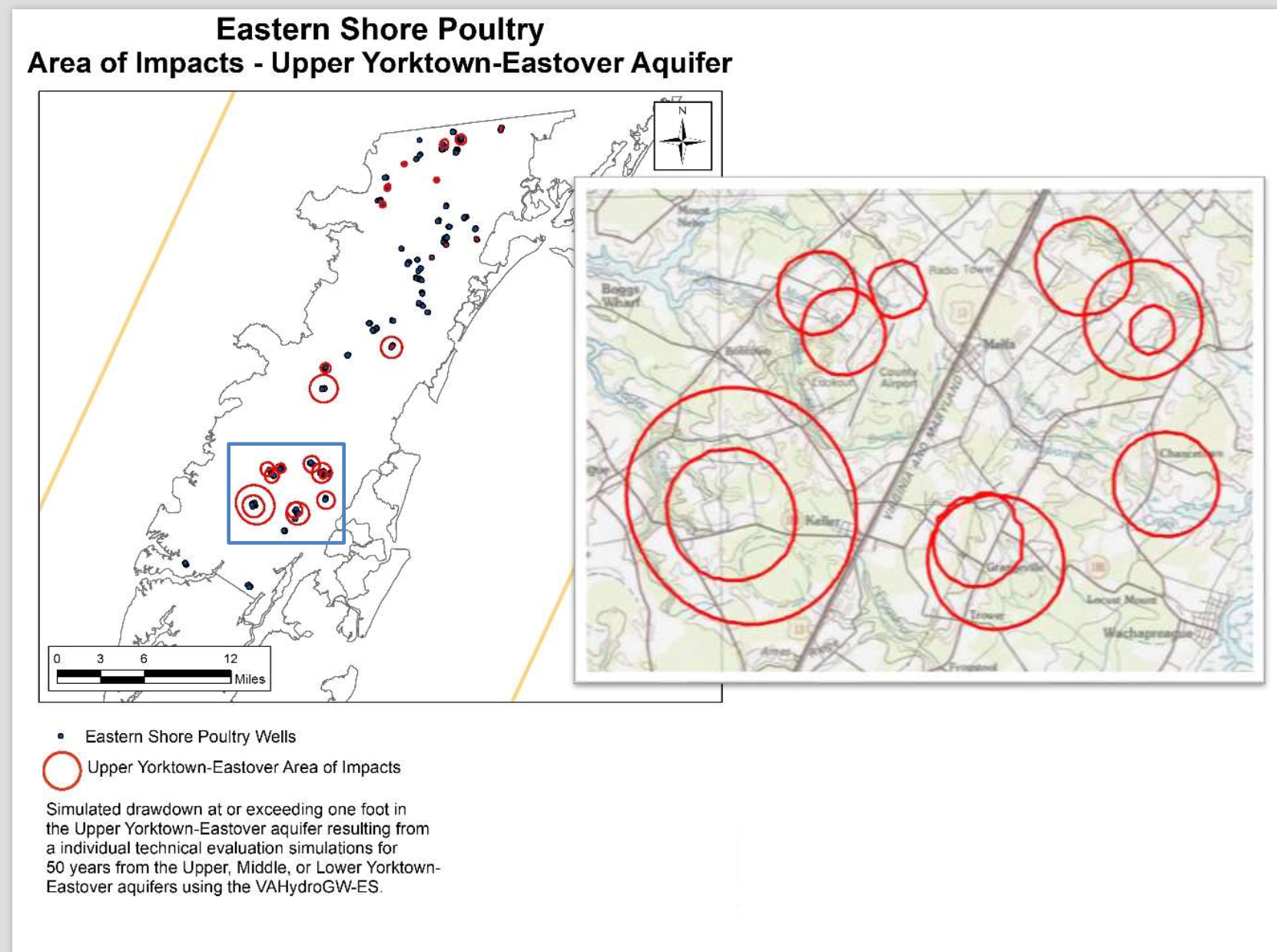 Areas of impact for Eastern Shore of Virginia poultry operation wells