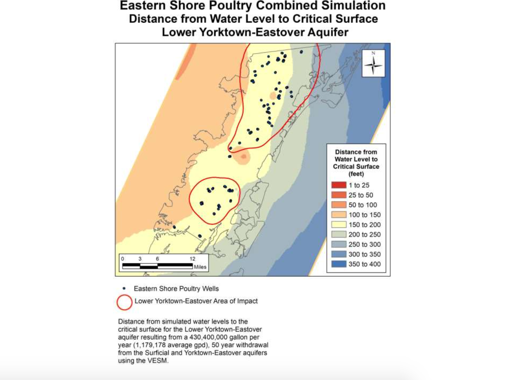 Map of distance from water level to critical surface for Eastern Shore of Virginia poultry operations simulation