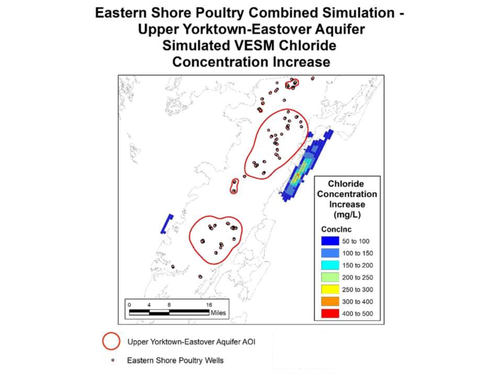 Map of simulated chloride concentration increase for Eastern Shore of Virginia poultry operation combined simulation