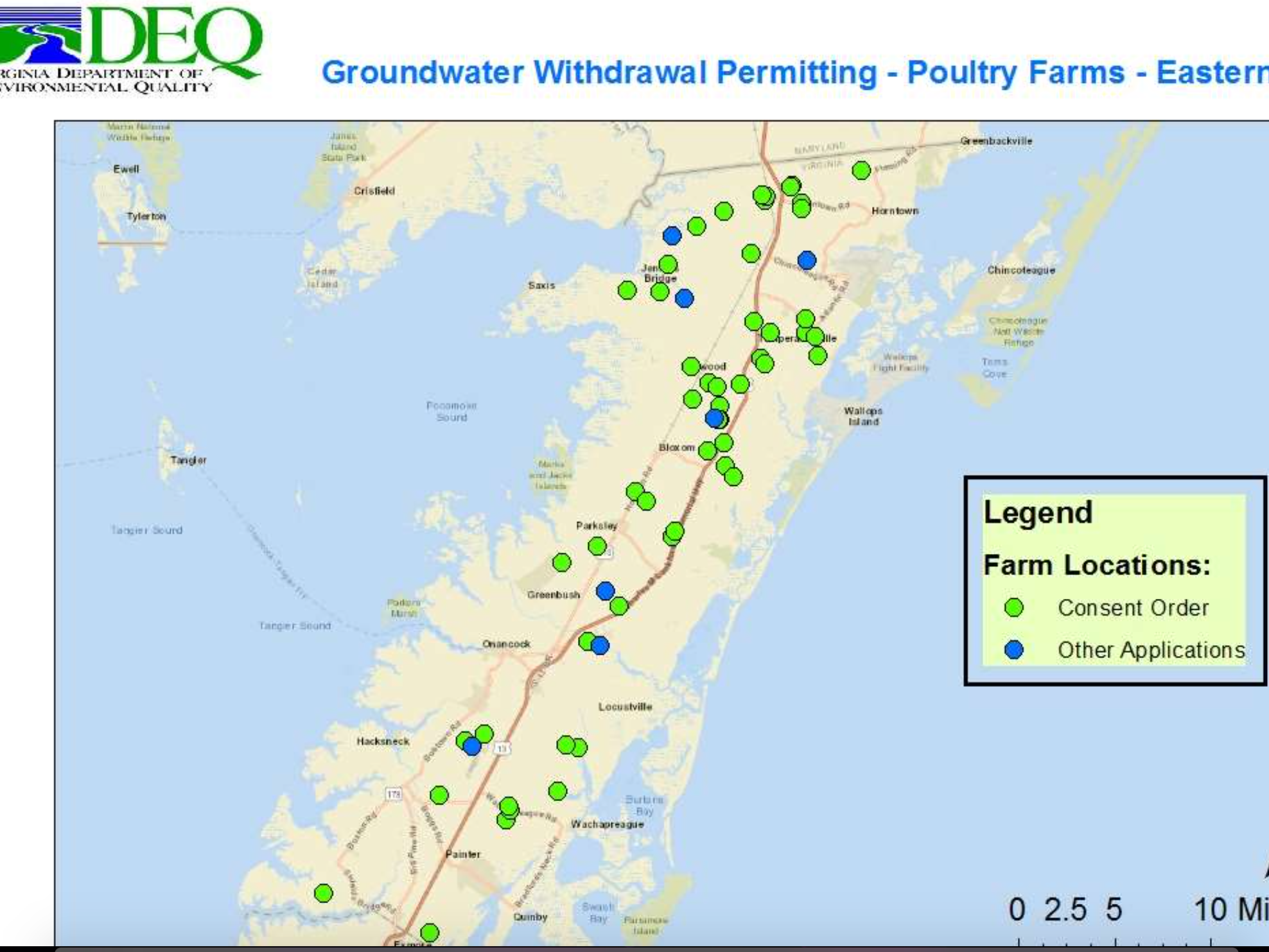 Map of groundwater withdrawal permit applications for poultry farms in Accomack County, Virginia