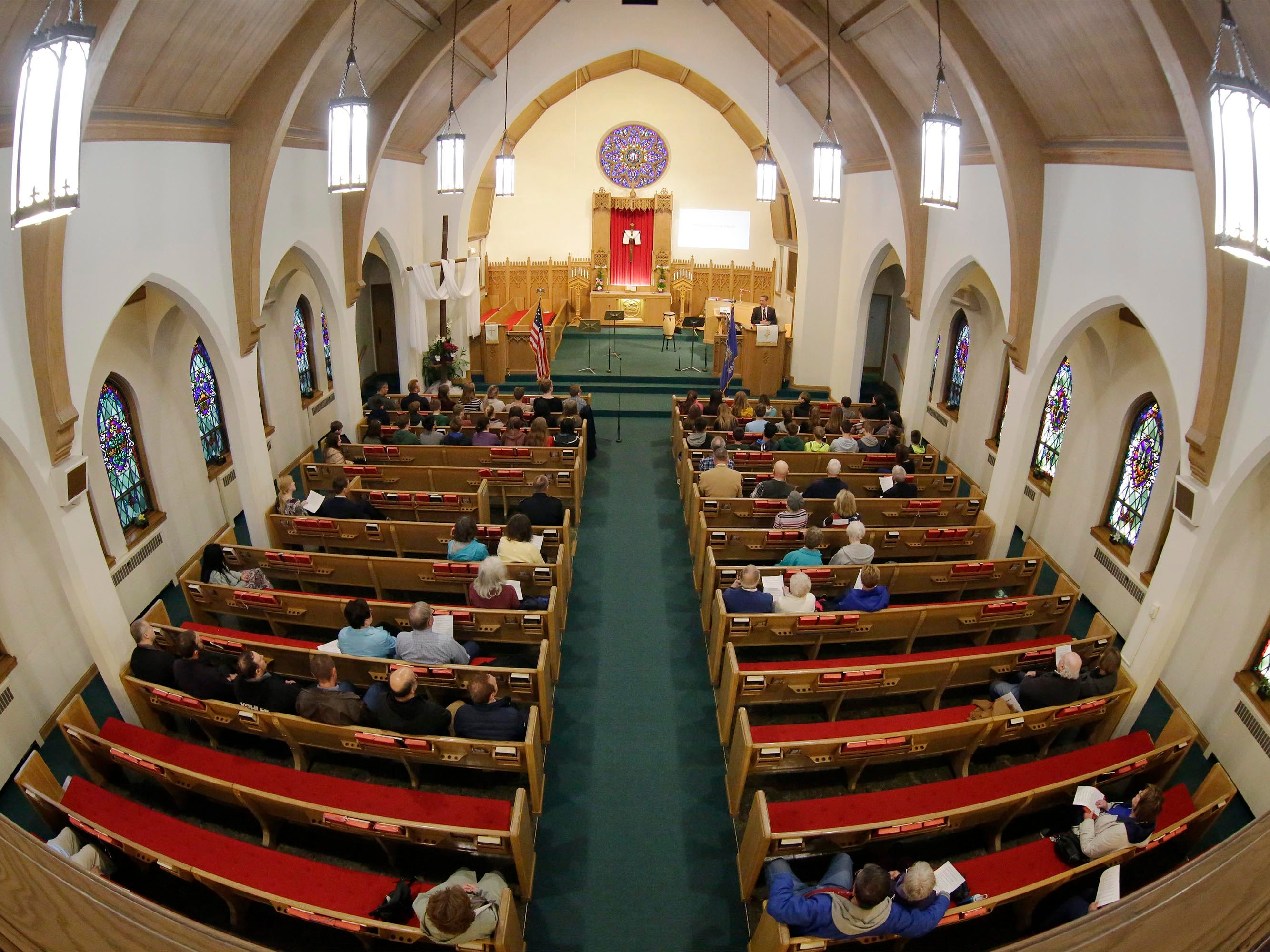 An overall during the National Day of Prayer service, Thursday, May 2, 2019, at Fountain Park Church, in Sheboygan, Wis. A fisheye lens was used for the image.