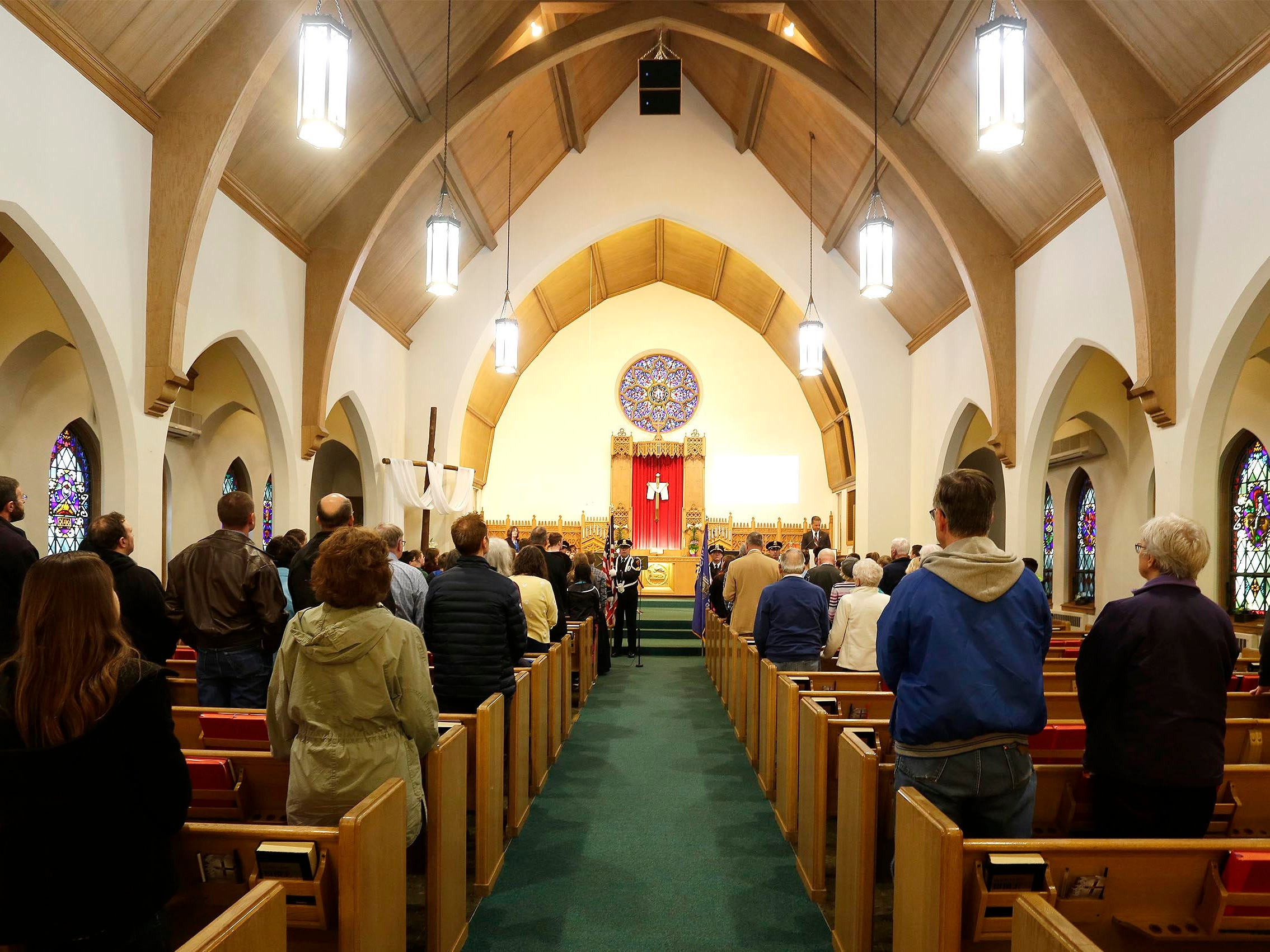 An overall during the National Day of Prayer service, Thursday, May 2, 2019, at Fountain Park Church, in Sheboygan, Wis.