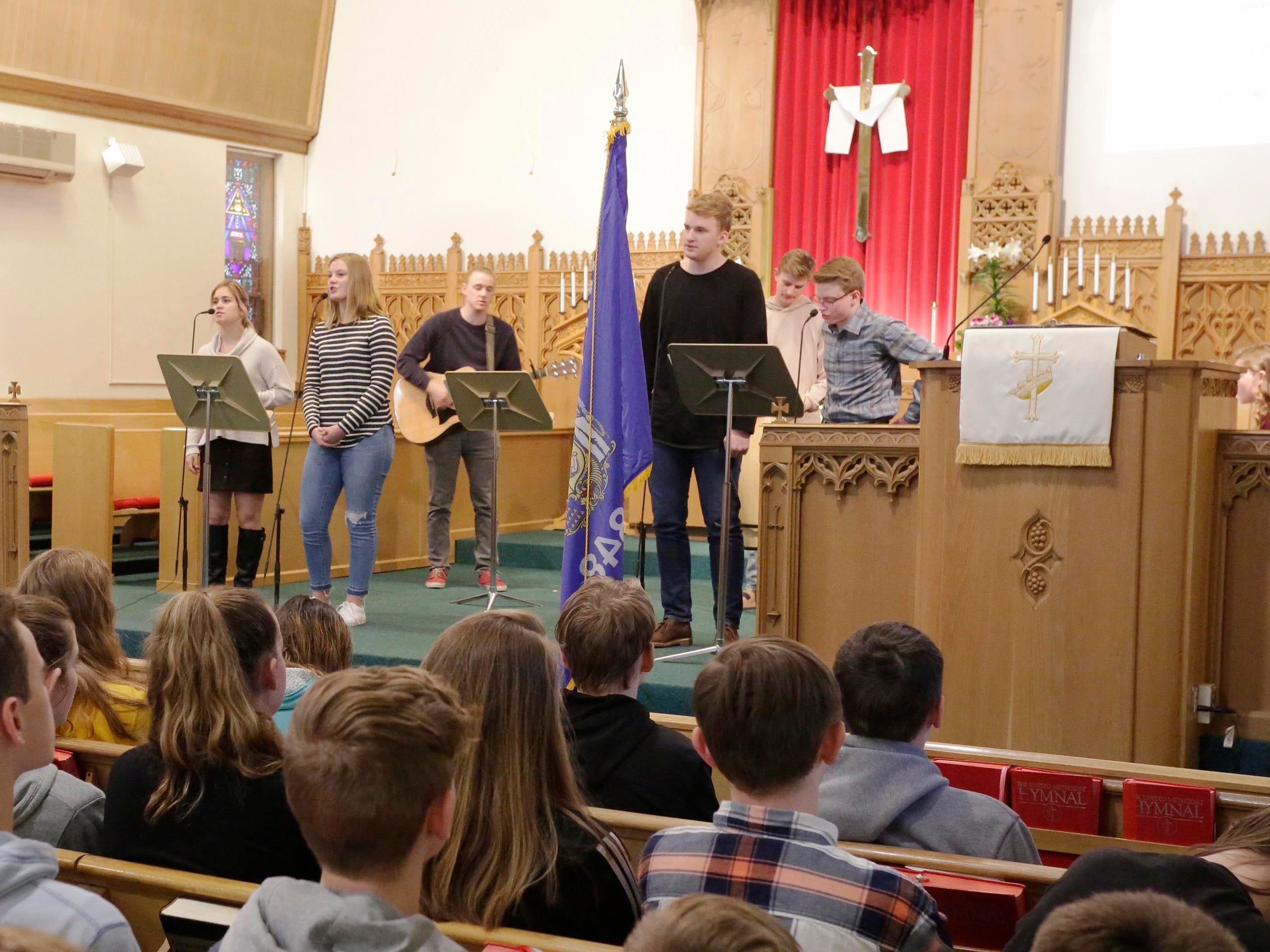 Sheboygan County School Praise Team performs during the National Day of Prayer, Thursday, May 2, 2019, at Fountain Park Church, in Sheboygan, Wis.