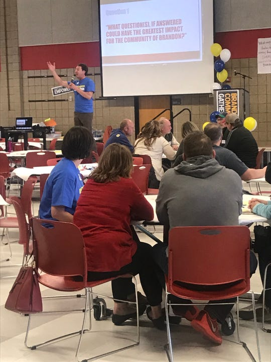 John Beranek from Dakota Resources leads a session at the community gathering at Brandon Valley High School on Sunday, April 28.