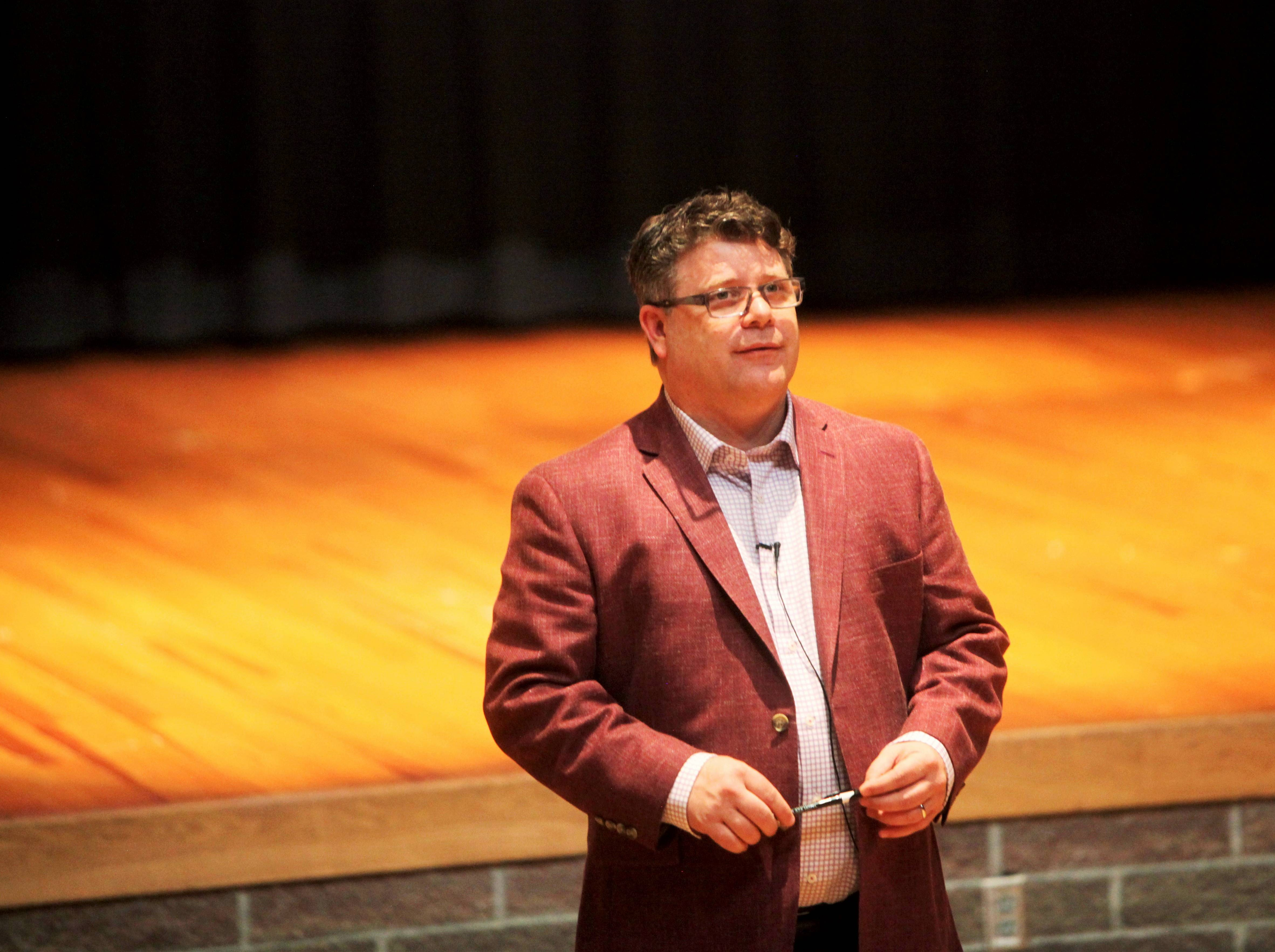 Sean Astin delivers a keynote speech during Missouri State University's Impact Summit Wednesday, May 1, 2019.