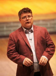 Sean Astin delivers a keynote speech during Missouri State University's Impact Summit on May 1.