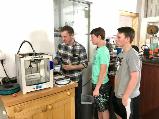 Students from Wilson Middle School started printing 3D-printed prosthetic hands at the Staunton Makerspace on May 2, 2019.