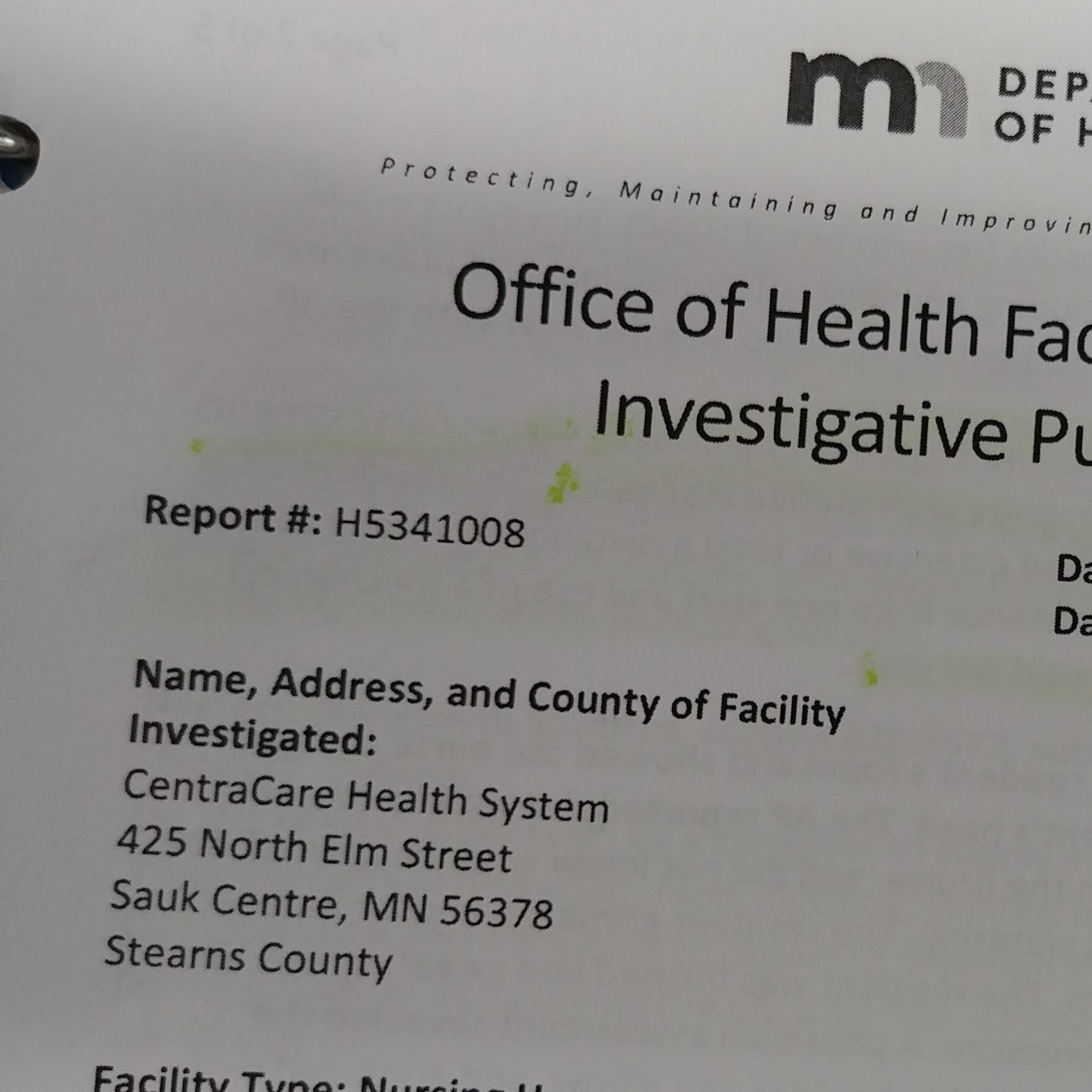 Report: Patient fell and broke arm due to Sauk Centre staff neglect