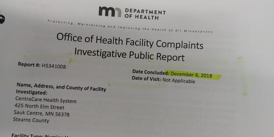 A Department of Health report outlines a case of neglect in Sauk Centre, when a nursing home patient broke an arm after being left on the side of a bed.