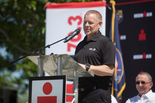 Director of Tourism Kevin Lewis helps announce the selection of St. George as the venue for the 2021 Ironman World Championship Thursday, May 2, 2019.