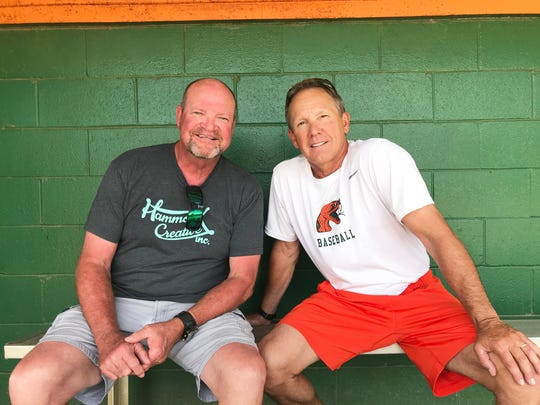 Baseball coaches Mike McLeod of TCC (left) and Jamey Shouppe of  FAMU share a relationship which dates back to 1981 at Florida State. Both men have deep connection on a personal and professional level.