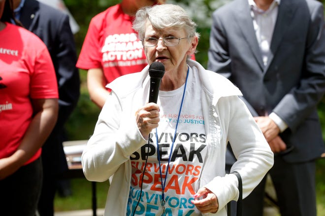 Agnes Furey, a woman who had family killed in a double murder, speaks at a press conference to address recent gun violence in the Bond neighborhood and Tallahassee community Thursday, May 2, 2019.