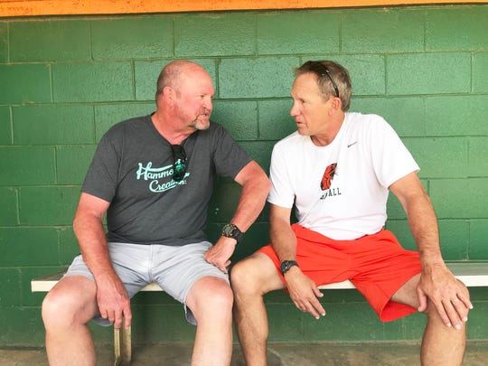 Baseball head coaches Mike McLeod of TCC (left) and Jamey Shouppe of FAMU have known each other for almost 40 years. McLeod visited Shouppe on Wednesday, May 1 at FAMU's Moore-Kittles Field to talk baseball, family and old times.
