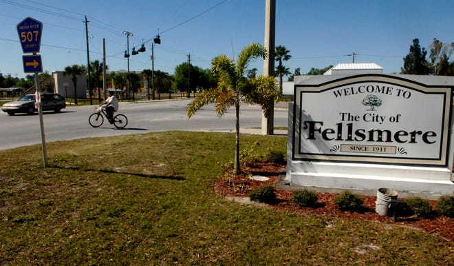 The welcome sign in Fellsmere greets visitors at the corner of Broadway and State Road 512.