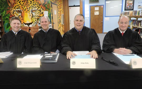Serving as judges of the fourth annual Constitution Academic Competition finals were Alan Forst and Mark Klingensmith of the 4th District Court of Appeals and William Roby and Darren Steele of the 19th Judicial Circuit.