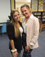 Martin County High School team of Jordan Losardo, left, and Jillian Plymale at the finals of the Constitution Academic Competition. They placed first in the competition.
