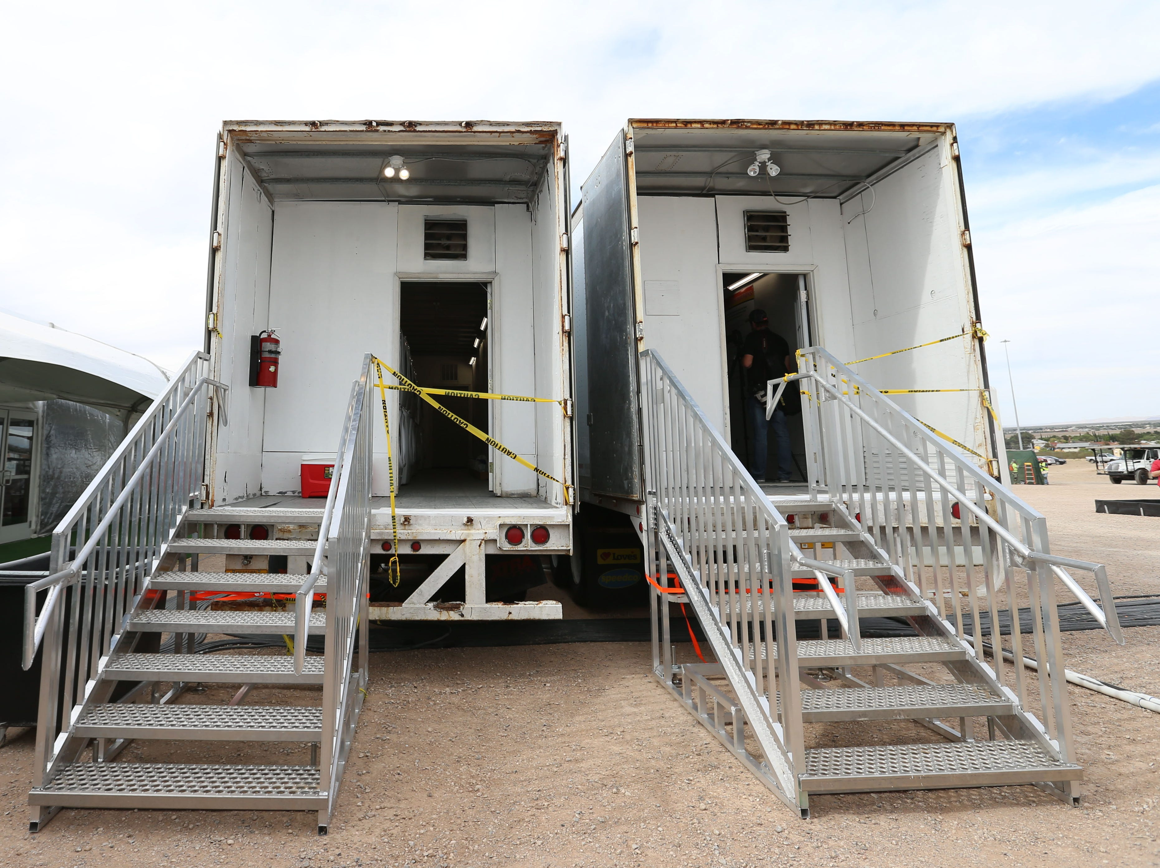 Border Patrol shows the laundry area during a media tour of a new temporary holding facility Thursday, May 2, located at 9201 Gateway S. Blvd. in El Paso. The 32,000 square foot facility is broken into four sections. Each section can hold 125 people.