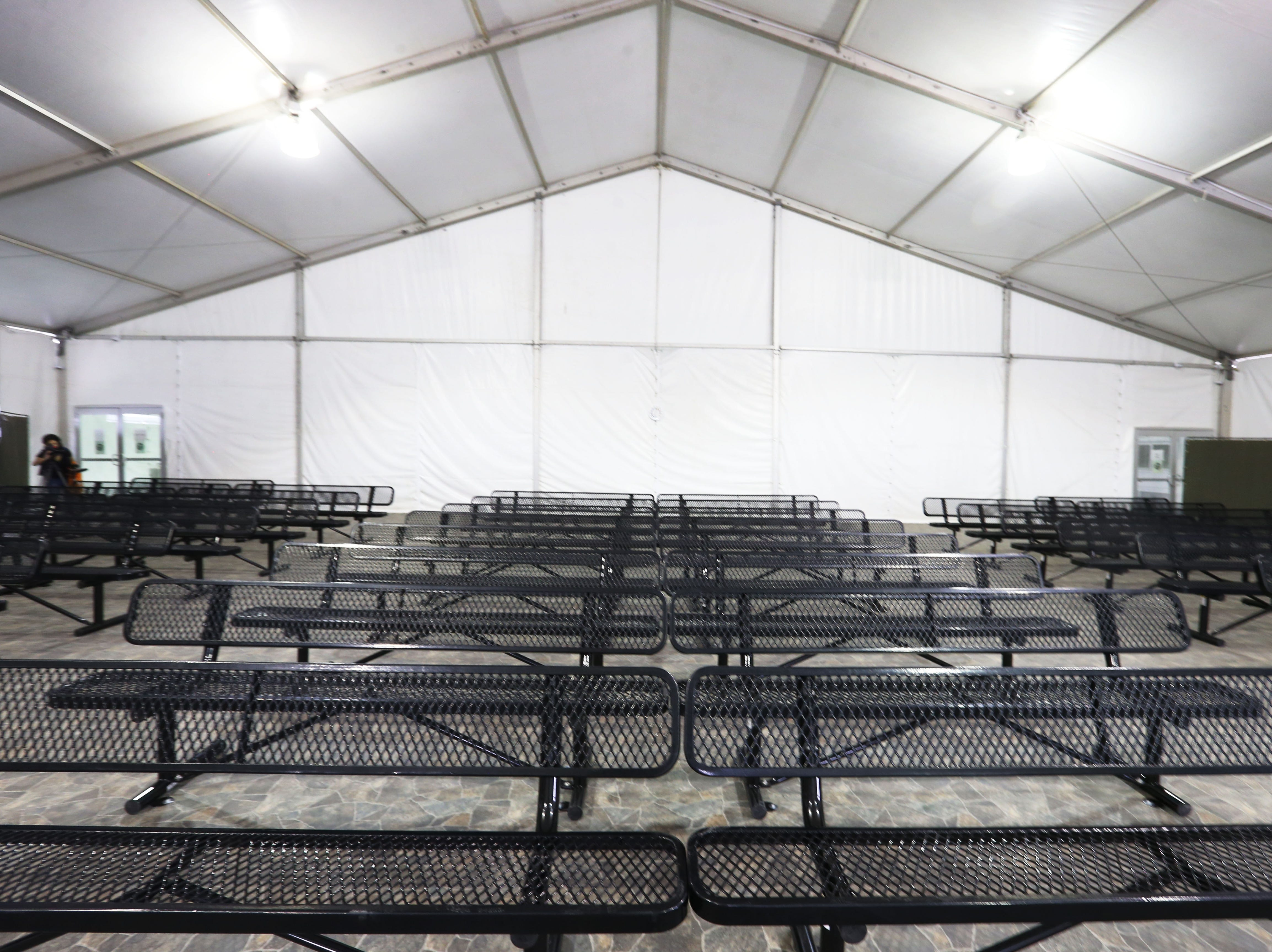 Border Patrol gives a media tour of a new temporary holding facility Thursday, May 2, located at 9201 Gateway S. Blvd. in El Paso. The 32,000 square foot facility is broken into four sections. Each section can hold 125 people.