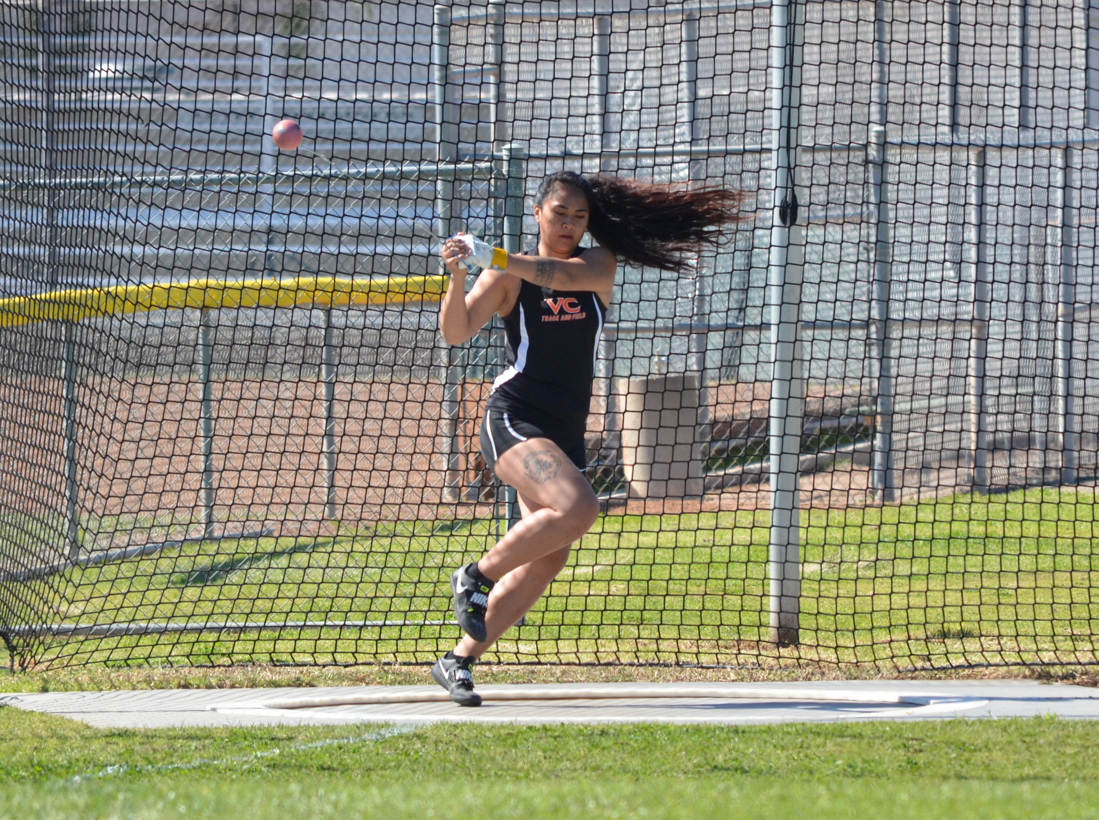 Ventura College sophomore Leslie Valoaga finished fifth in the hammer throw at the WSC Championships on April 26. The Channel Islands High graduate qualified for regionals in all four throwing events.