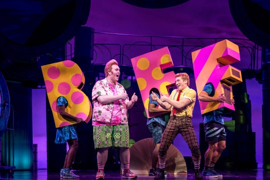 "Danny Skinner, left, is Patrick Star, and Tony nominee Ethan Slater is the title character in ""SpongeBob SquarePants: The Musical"" on Broadway. The pair will host the 2019 Metro Awards at Purchase PAC on June 10."
