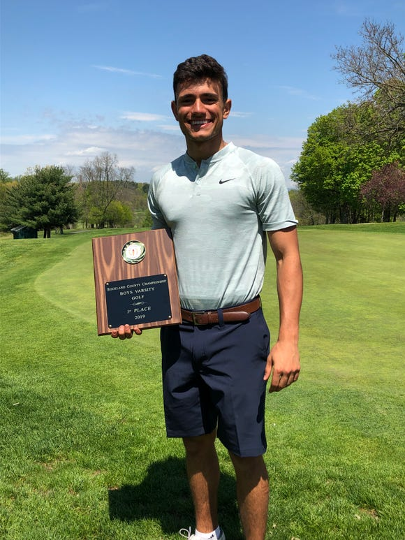 Suffern's Alex Kyriacou won his third straight Rockland County boys golf championship after shooting a 1-under-par 71 at Rotella Golf Course in Thiells on May 2, 2019.