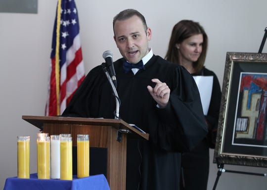 Judge David Fried speaks at the Yom HaShoah commemoration at the Rockland County courthouse May 2, 2019.