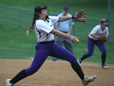 Clarkstown North's Kaitlyn Fudge delivers a pitch during a game at Suffern May 2, 2019.
