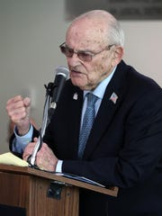 Alan Moskin speaks at the Yom HaShoah commemoration at the Rockland County courthouse May 2, 2019.