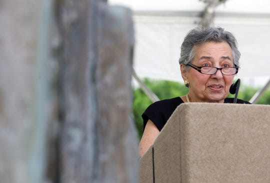 Holocaust survivor Helga Luden, 84, of New Rochelle speaks at the annual Westchester County Yom Hashoah Holocaust Commemoration May 2, 2019 at the Garden of Remembrance in White Plains.