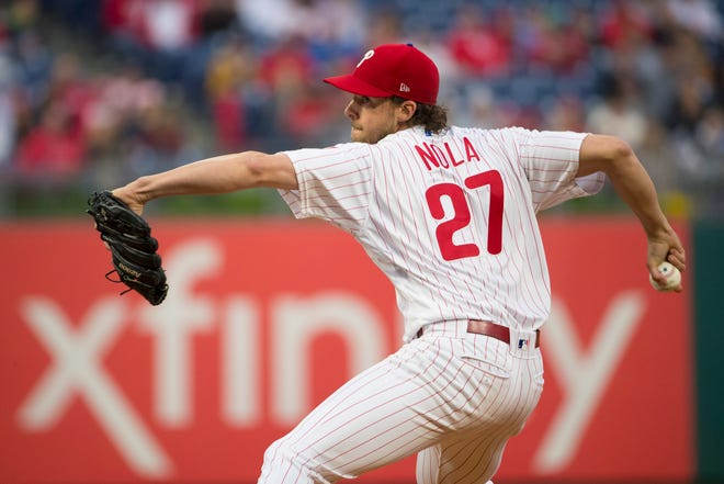 Aaron Nola #27 of the Philadelphia Phillies throws a pitch in the top of the first inning against the Philadelphia Phillies at Citizens Bank Park on May 1, 2019 in Philadelphia.