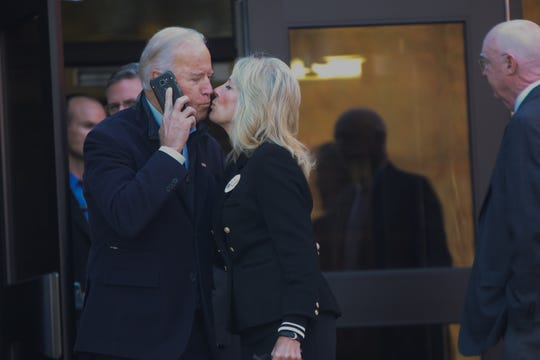 Jennifer Corbett, The News Journal Vice President Joe Biden and his wife Dr. Jill Biden kiss while leaving A.I. DuPont High School after they voted together Tuesday morning. Vice President Joe Biden and his wife Dr. Jill Biden kiss while leaving A.I. DuPont High School after they voted together Tuesday morning.