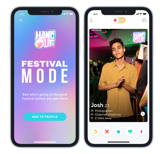 Users of the Tinder dating app can now add a Firefly Music Festival badge to their profile, allowing festival-goers to match with other users before the festival.