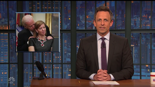 Late night talk show hosts welcomed Joe Biden to the Democratic presidential primary with plenty of jokes.