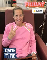 In this social media post, Midwestern State University women's basketball coach Noel Johnson signals No. 2, for her second round of chemotherapy treatment for ovarian cancer.  This April 26, 2019, treatment put her at near the end of the first of six rounds.