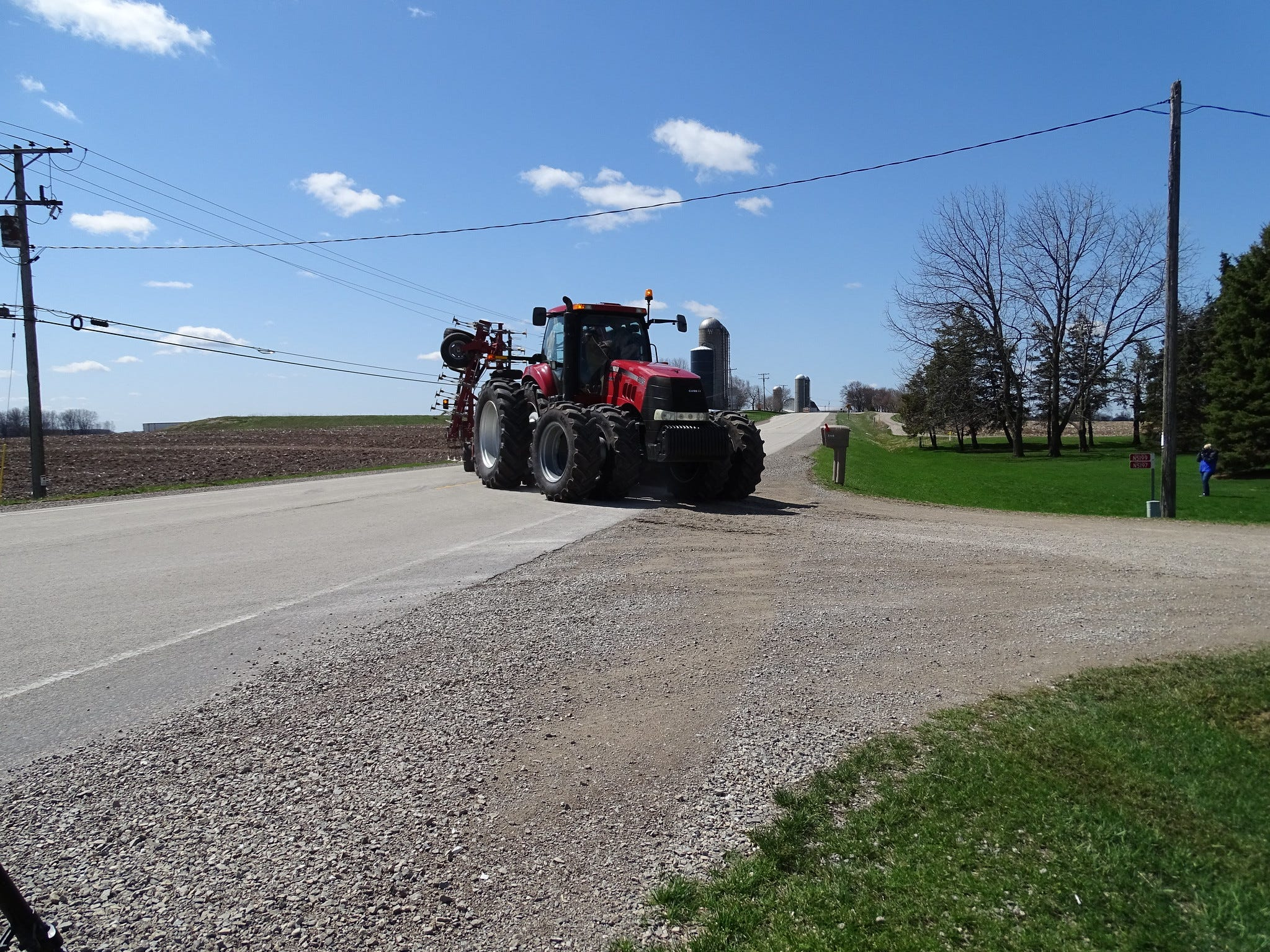 Motorists should pay attention to farm machinery turning into or pulling out of farm driveways.