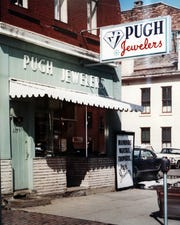 Pugh Jewelers' first location was on Fifth Street in Zanesville, where the Community Bank building is now located.