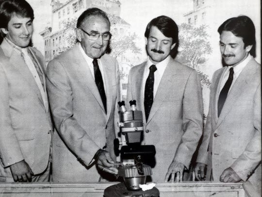 Patrick, Vernon, Dan and Kevin Pugh in a 1974 picture in Pugh's Diamond Jewelers.