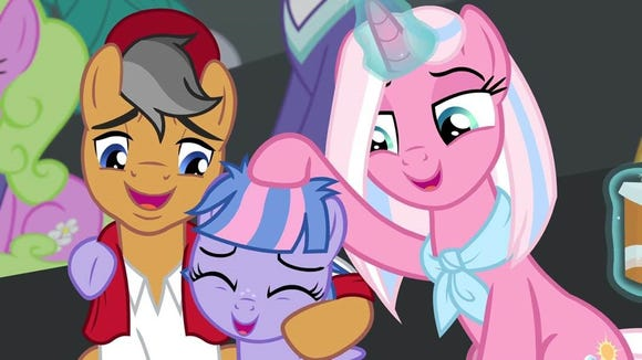 """Quibble Pants (Patton Oswalt, left), Wind Sprint (Alice Oswalt) and Clear Sky (Meredith Salenger) find """"Common Ground"""" in Saturday's new episode of """"My Little Pony."""""""