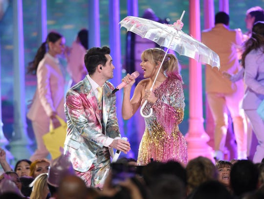 """Brendon Urie, left, and Taylor Swift perform """"Me!"""" at the Billboard Music Awards on Wednesday, May 1, 2019, at the MGM Grand Garden Arena in Las Vegas."""
